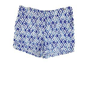 Kenar Ikat Printed Blue White Linen Blend Shorts 6